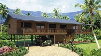 China Holiday Living Home Beach Bungalows , Wooden Bungalow With Light Steel Frame supplier