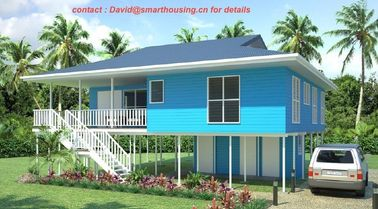 China Fireproof Two-Story Prefab Beach Bungalow , Blue Home Beach Bungalows distributor